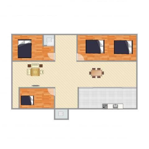 教师村3室1厅2卫1厨111.79㎡户型图