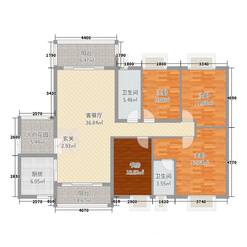 锦江国际新城65143.20㎡6/5栋08单元4室户型4室2厅2卫1厨