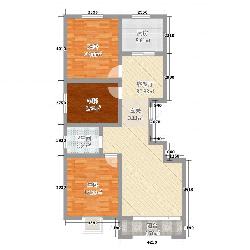 中豪・润园11111.75㎡C户型3室2厅1卫1厨