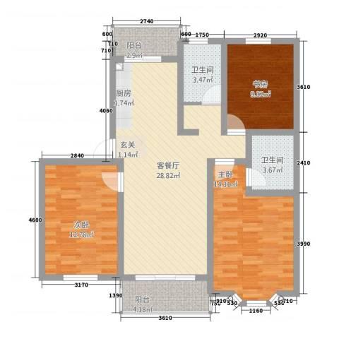 博雅景园3室1厅2卫0厨115.00㎡户型图