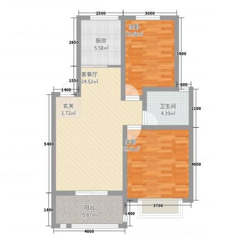 广齐东奥家园2室1厅1卫1厨81.00㎡户型图