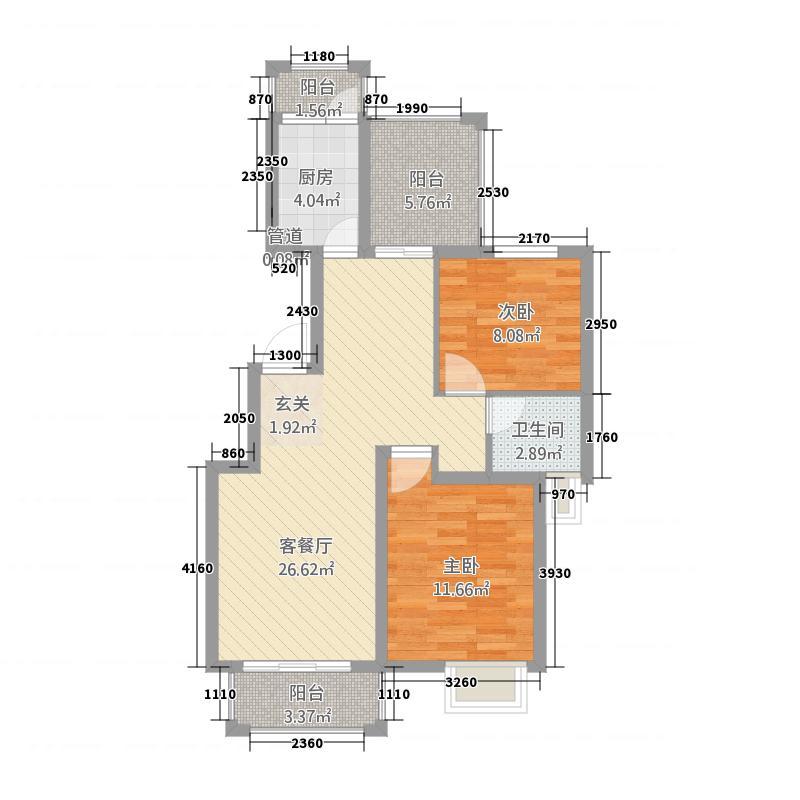金湾名邸3.34㎡B2户型2室2厅1卫