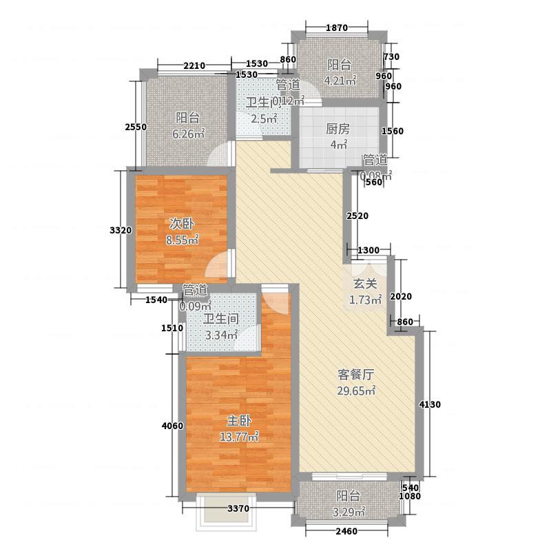 金湾名邸11.43㎡C1户型2室2厅2卫