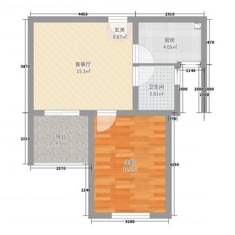 博雅景园1室1厅1卫1厨57.00㎡户型图