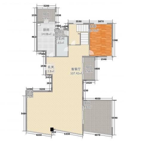 世茂蝶湖湾1室1厅1卫1厨252.00㎡户型图
