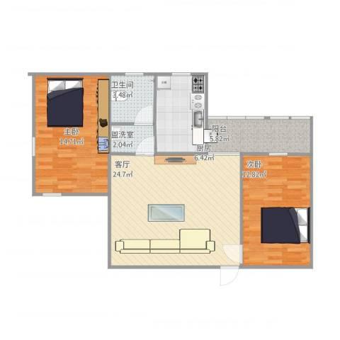 文泰康城2室2厅1卫1厨94.00㎡户型图