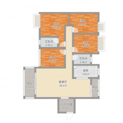 碧琴湾4室1厅2卫1厨155.00㎡户型图