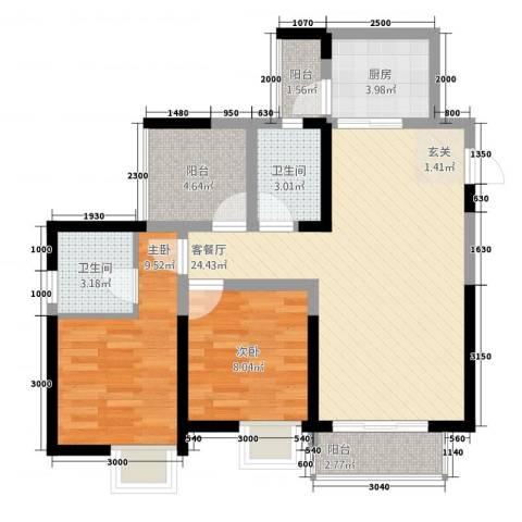 风格嘉居2室1厅2卫1厨61.13㎡户型图