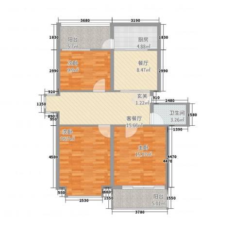 旺府公寓3室2厅1卫1厨119.00㎡户型图