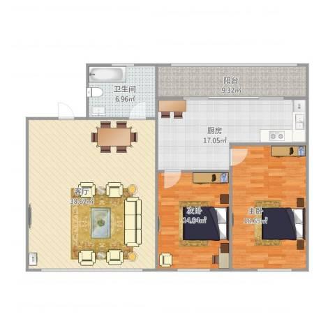 鸿凯花园二期2室1厅1卫1厨139.00㎡户型图