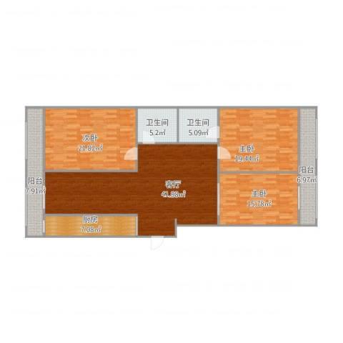 龙德里3室1厅2卫1厨140.60㎡户型图