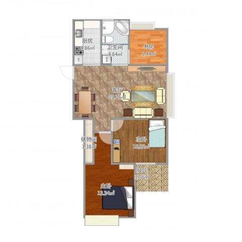 中楠时代花园3室1厅1卫1厨84.00㎡户型图