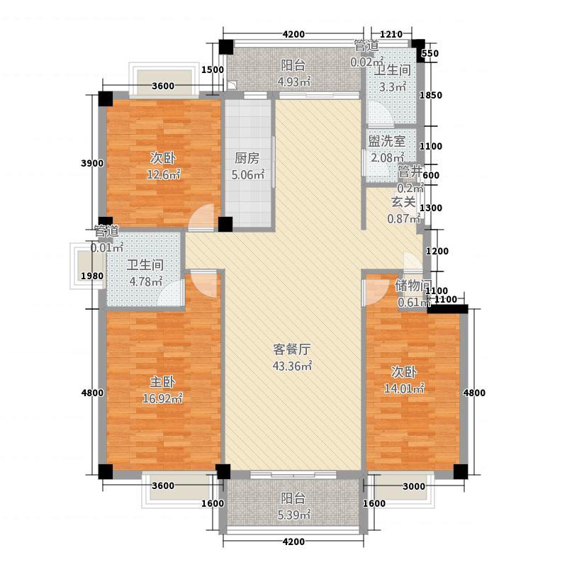 泽丰花园12.43㎡4户型3室2厅2卫