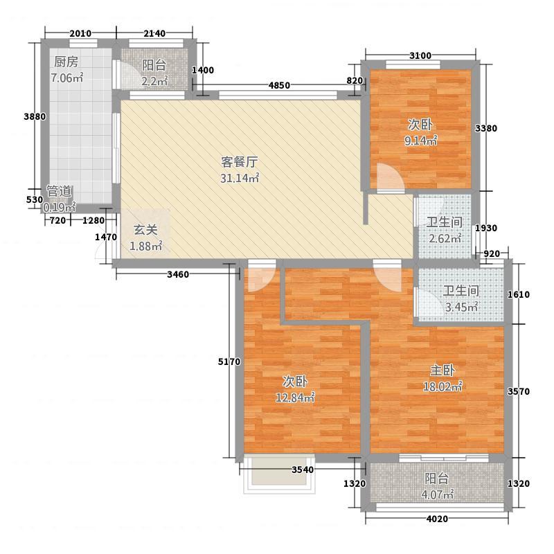 乐宅432212.81㎡4户型3室2厅2卫1厨