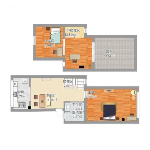 东兴小区3室2厅1卫1厨121.00㎡户型图
