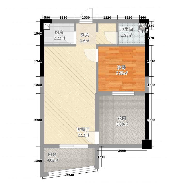 博鑫双湾国际46.12㎡4号楼A-3户型1室2厅1卫1厨
