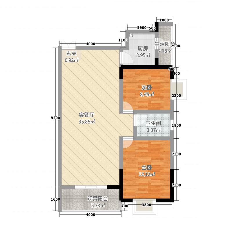 远大广场二期1.51㎡户型2室2厅1卫1厨