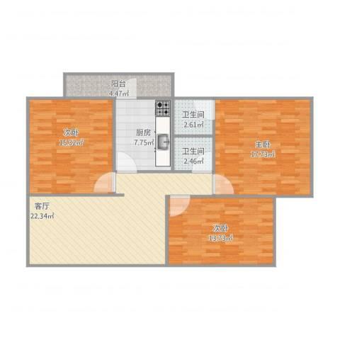 西苑小区3室1厅2卫1厨116.00㎡户型图