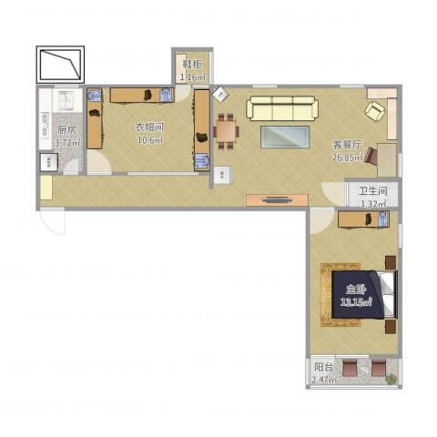 西直门南大街小区1室1厅1卫1厨81.00㎡户型图