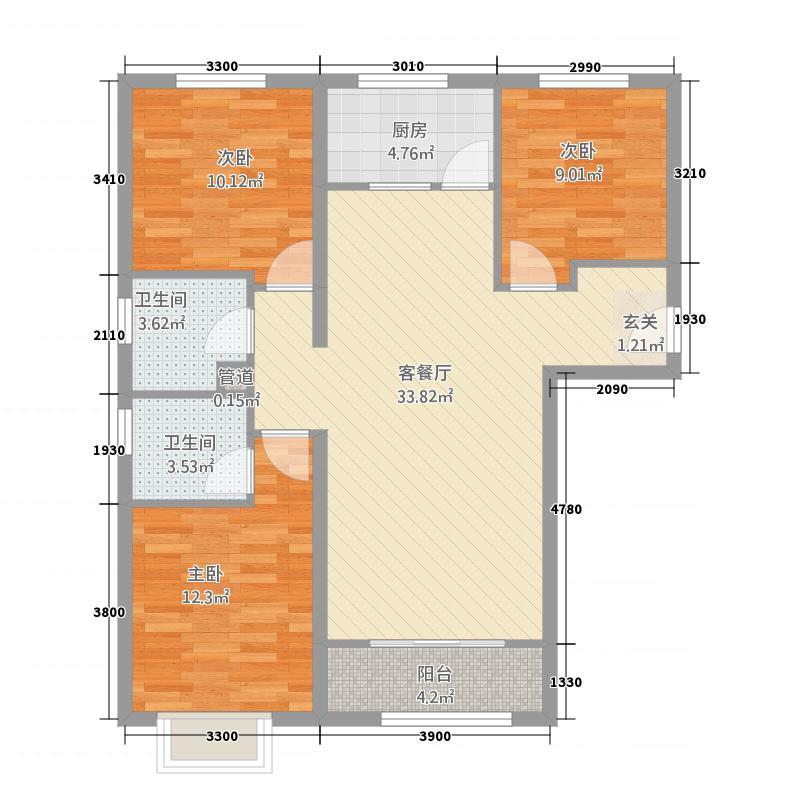 国雅城11117.20㎡1#楼C10户型3室2厅2卫1厨