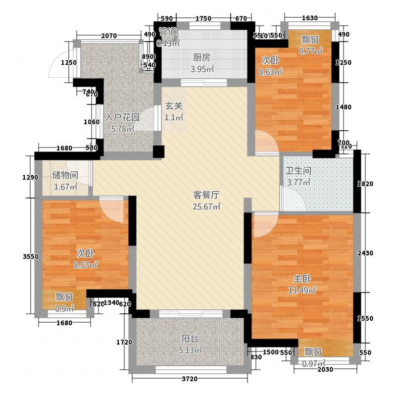 世纪朝阳中央城111.20㎡高层A2户型3室2厅1卫1厨