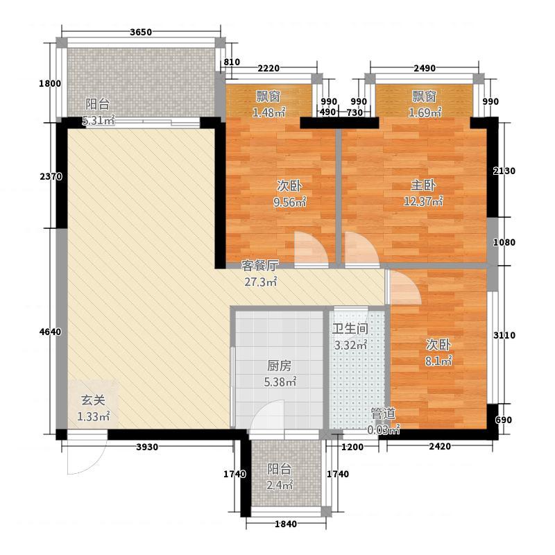 银海森林8.00㎡户型3室