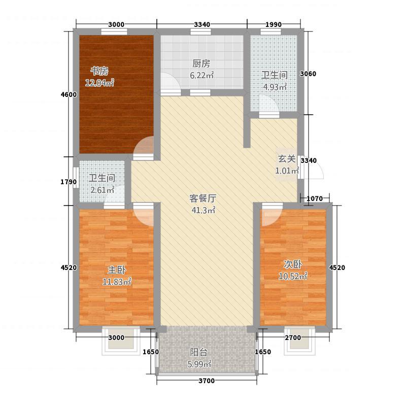 新区玫瑰小镇项目127.32㎡C户型3室2厅2卫1厨