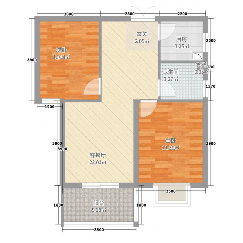 杰特大厦2286.20㎡B户型2室2厅1卫1厨