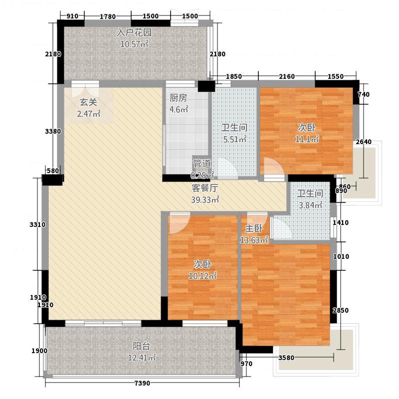 滨海湾1号14.45㎡A2户型3室2厅2卫1厨