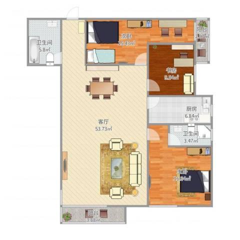 欧陆经典18号楼5013室1厅2卫1厨157.00㎡户型图