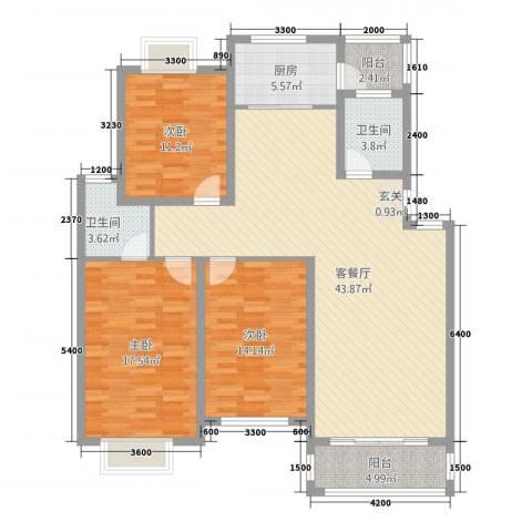 翠竹苑3室1厅2卫1厨32121.00㎡户型图