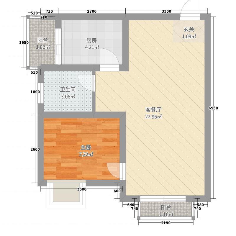 东方山水44.52㎡B1-3层2、3号房户型1室2厅1卫1厨