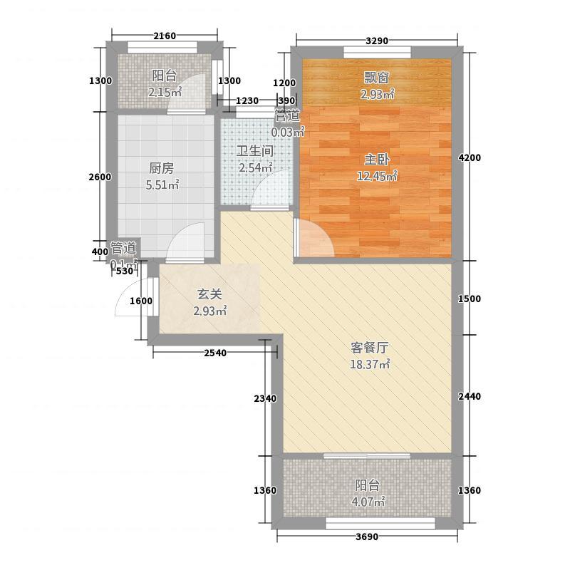 龙族海天福景海泉湾57.20㎡户型1室1厅1卫1厨