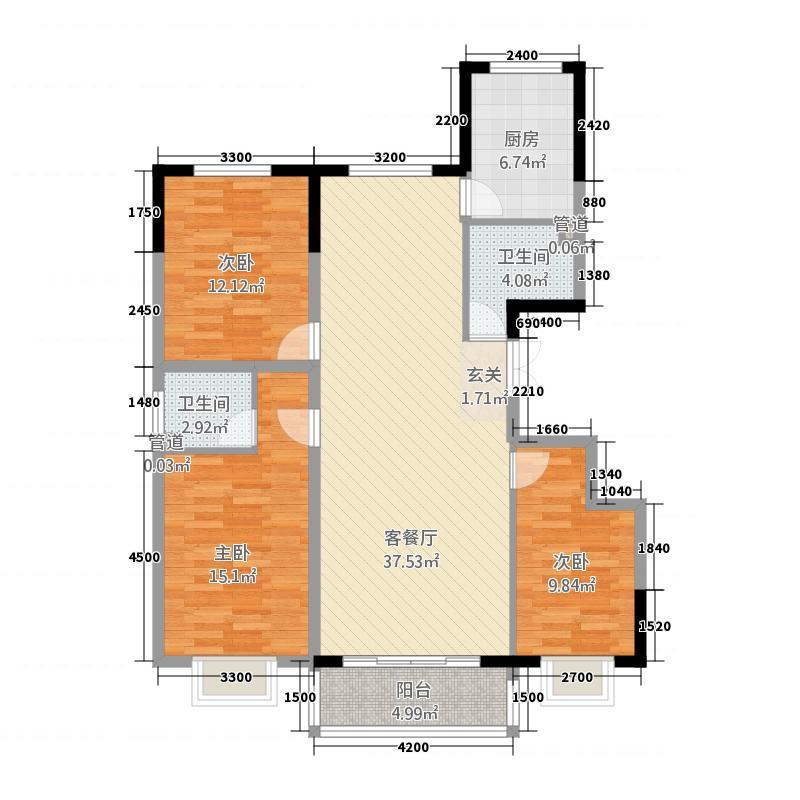 环江花园B区124.22㎡C-户型3室2厅2卫1厨