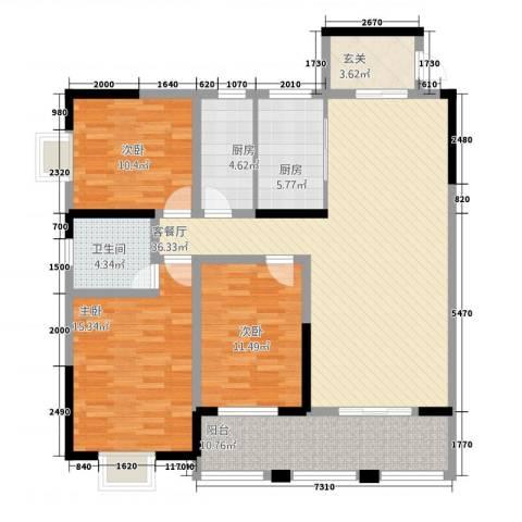豪景苑3室1厅1卫2厨51132.00㎡户型图