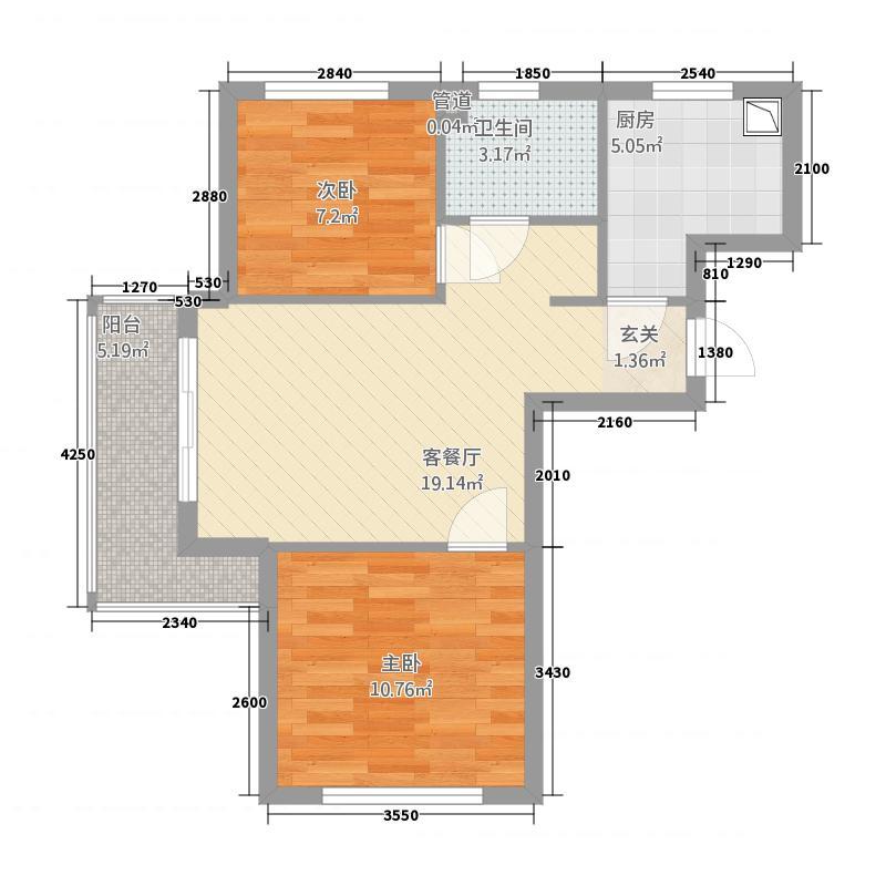 湖光海景B区7.13㎡M户型2室1厅1卫1厨