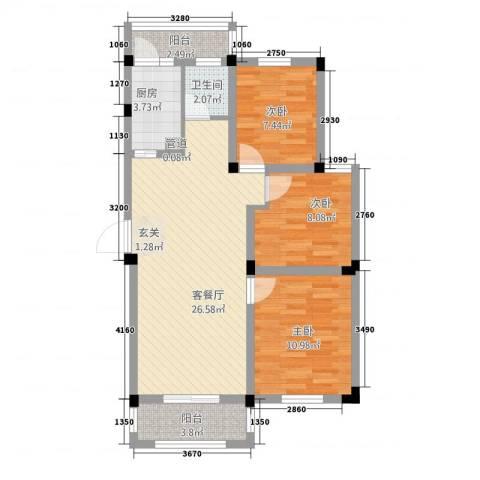 宇业天逸华府3室1厅1卫1厨65.45㎡户型图