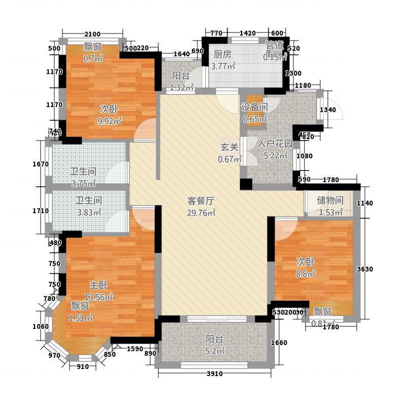世纪朝阳中央城127.20㎡高层B1户型3室2厅2卫1厨