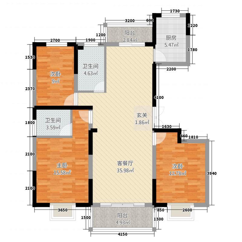环江花园B区3132.72㎡D户型3室2厅2卫1厨