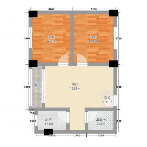 翠竹苑2室1厅1卫1厨216.00㎡户型图