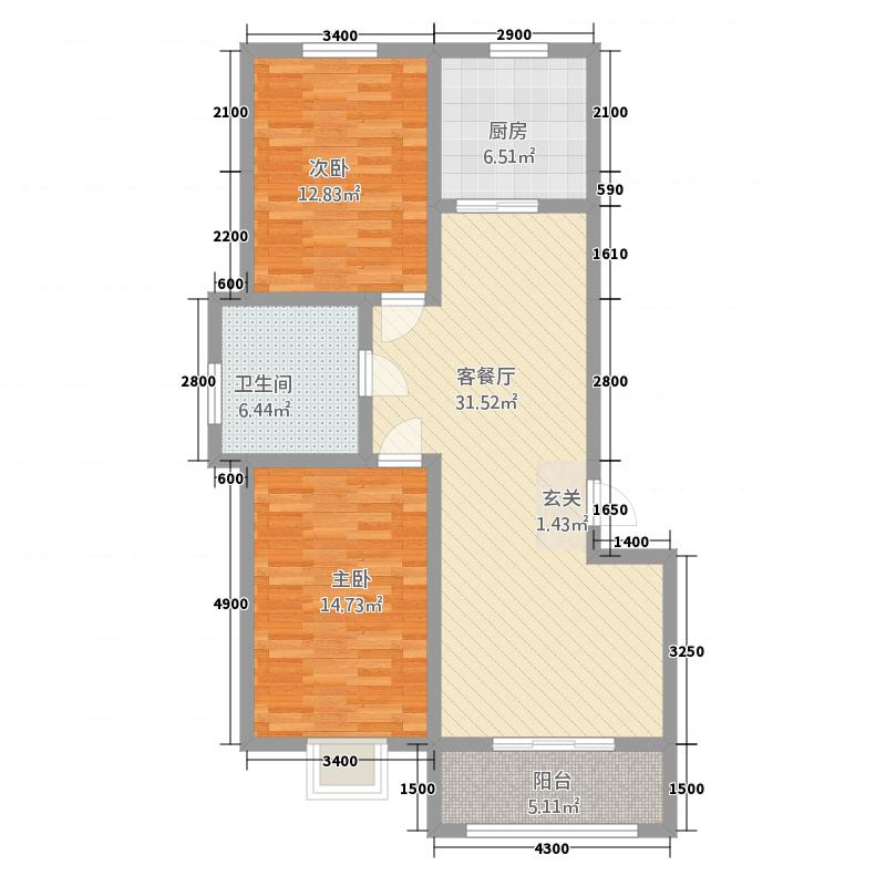 凤凰永安居5611.20㎡5#、6#A1库・户型2室2厅1卫