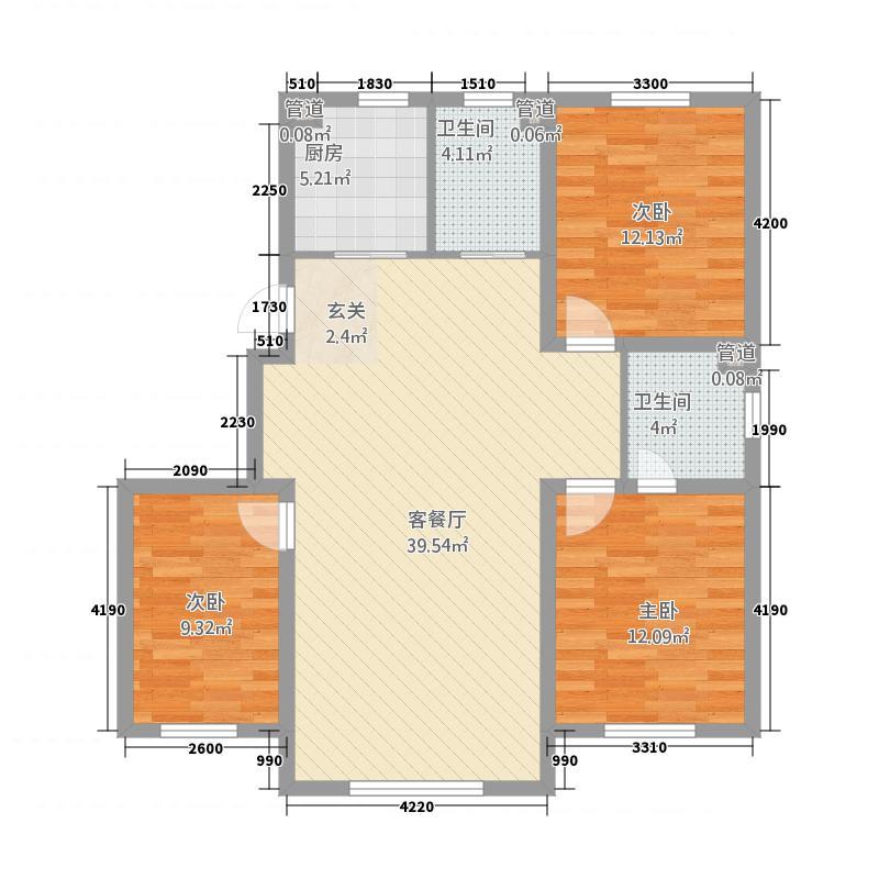 鸡西福恬奥林花园4122.26㎡4(2)户型3室2厅1卫1厨