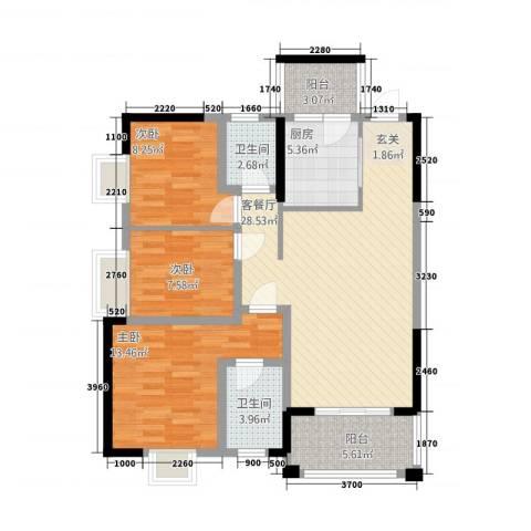 豪景苑3室1厅2卫1厨6112.00㎡户型图