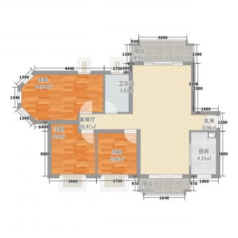 新君汇花地湾3室1厅1卫1厨83.00㎡户型图