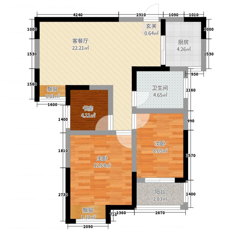 宝翔嘉苑1286.72㎡1号楼2号楼3号楼5号楼D户型3室2厅1卫1厨