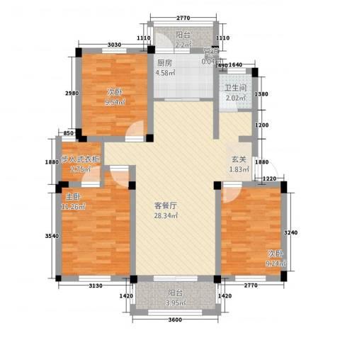 宇业天逸华府3室1厅1卫1厨73.91㎡户型图