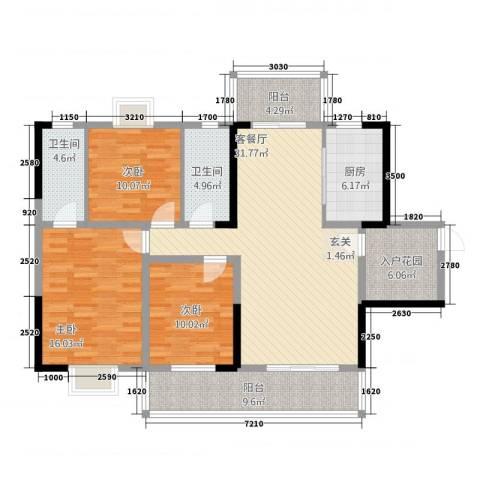 豪景苑3室1厅2卫1厨5212.00㎡户型图