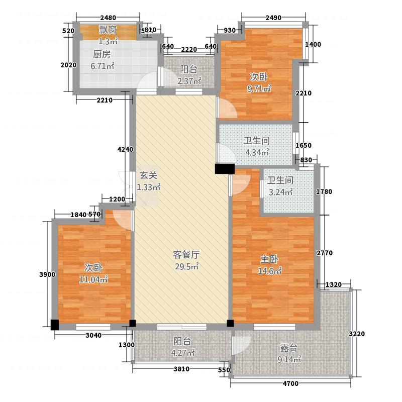银泰隆公寓3.20㎡户型3室2厅2卫1厨