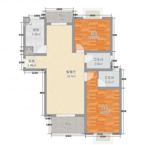 昆城豪庭2室1厅2卫1厨80.10㎡户型图