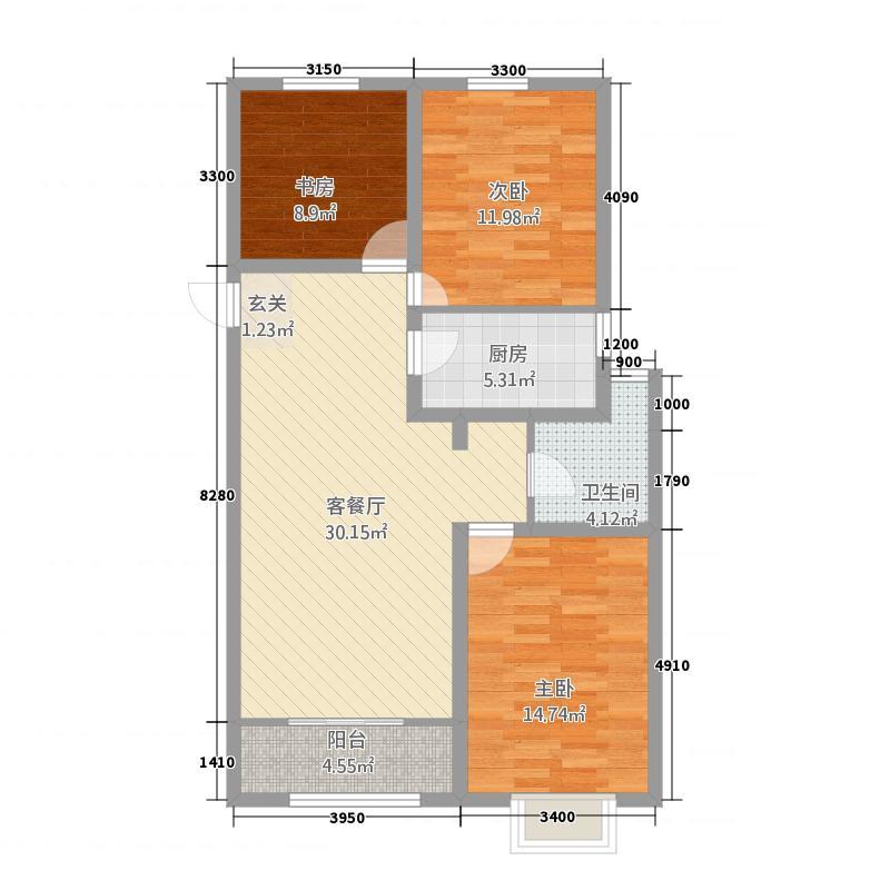 天润园・云Life11.81㎡D-12-C户型3室2厅1卫1厨